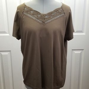 Talbots (XL) Dark Tan Cotton Tee Short Sleeves